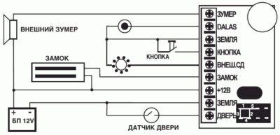 Подключение электронного замка на дверь